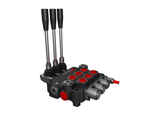 Distribuitor hidraulic monobloc dublu efect 3 sectiuni 80 l/min
