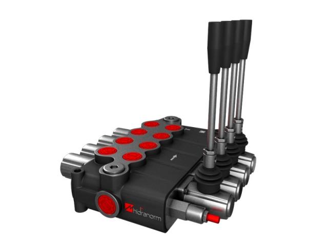 Distribuitor hidraulic monobloc dublu efect 4 sectiuni 120 l/min