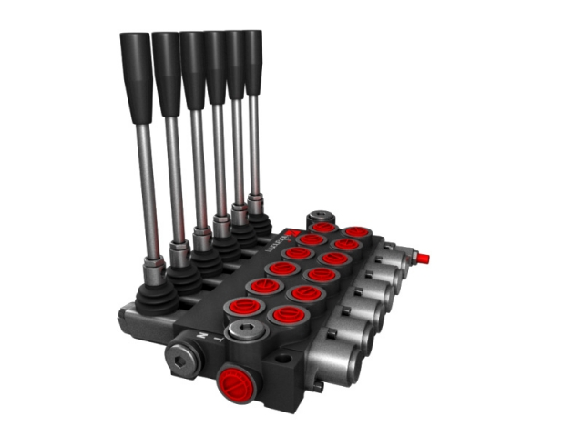 Distribuitor hidraulic monobloc dublu efect 6 sectiuni 40 l/min